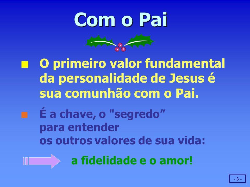 - 3 - n n O primeiro valor fundamental da personalidade de Jesus é sua comunhão com o Pai. n n É a chave, o