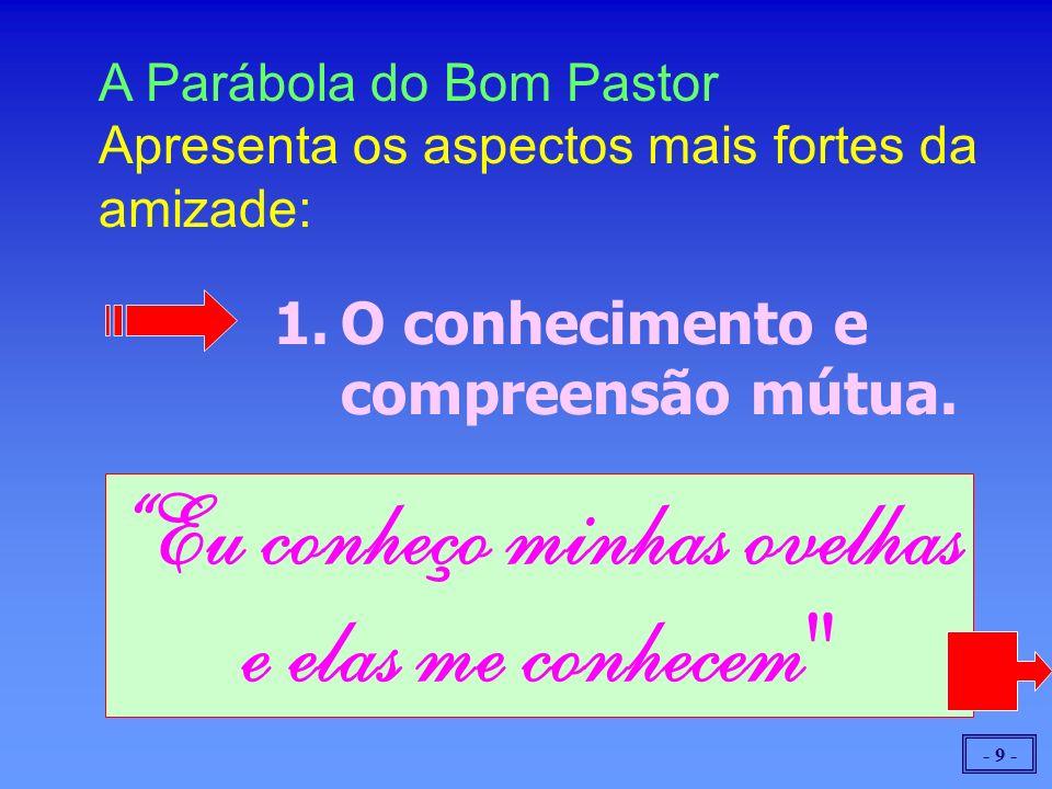 - 9 - A Parábola do Bom Pastor Apresenta os aspectos mais fortes da amizade: 1.O conhecimento e compreensão mútua. Eu conheço minhas ovelhas e elas me