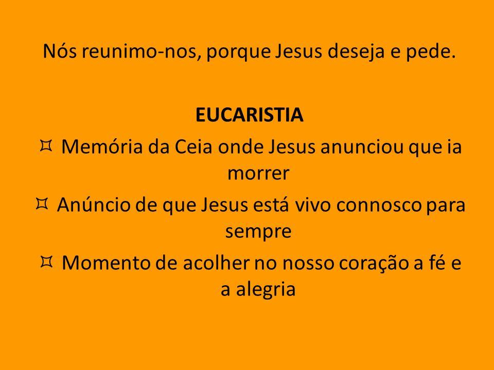 Nós reunimo-nos, porque Jesus deseja e pede. EUCARISTIA Memória da Ceia onde Jesus anunciou que ia morrer Anúncio de que Jesus está vivo connosco para