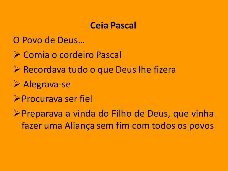 Ceia Pascal O Povo de Deus… Comia o cordeiro Pascal Recordava tudo o que Deus lhe fizera Alegrava-se Procurava ser fiel Preparava a vinda do Filho de