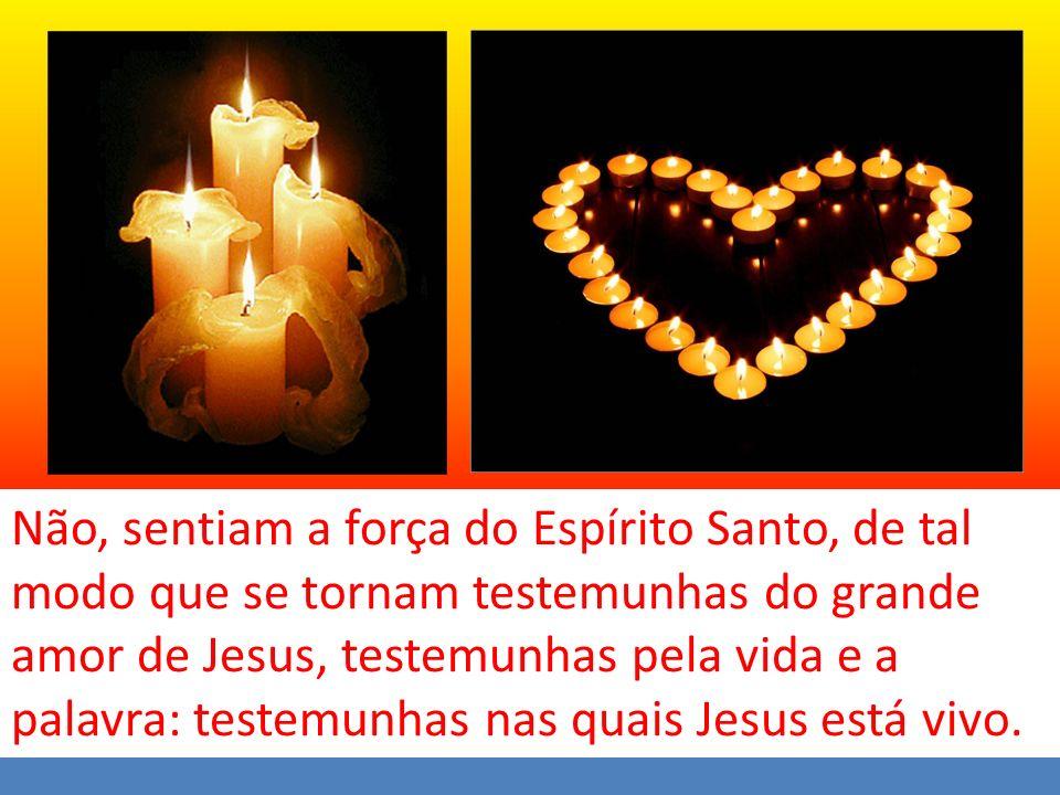 Não, sentiam a força do Espírito Santo, de tal modo que se tornam testemunhas do grande amor de Jesus, testemunhas pela vida e a palavra: testemunhas