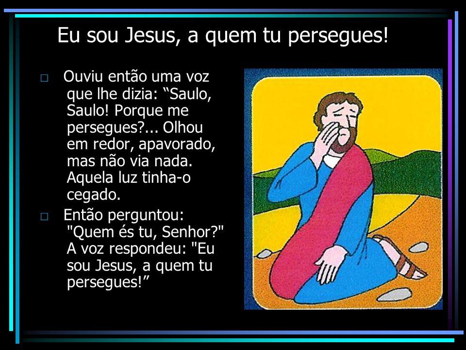 Eu sou Jesus, a quem tu persegues! Ouviu então uma voz que lhe dizia: Saulo, Saulo! Porque me persegues?... Olhou em redor, apavorado, mas não via nad