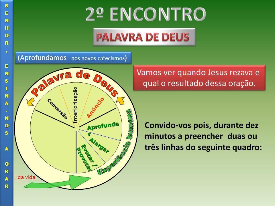 (Aprofundamos - nos novos catecismos ) Evocar / Provocar Alargar Aprofunda r Anúncio Interiorização Conversão … da vida Vamos ver quando Jesus rezava
