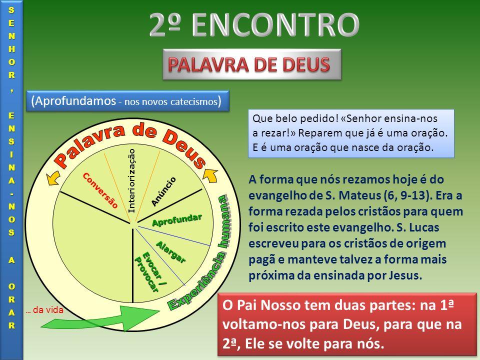 (Aprofundamos - nos novos catecismos ) Evocar / Provocar Alargar Aprofundar Anúncio Interiorização Conversão … da vida Que belo pedido! «Senhor ensina