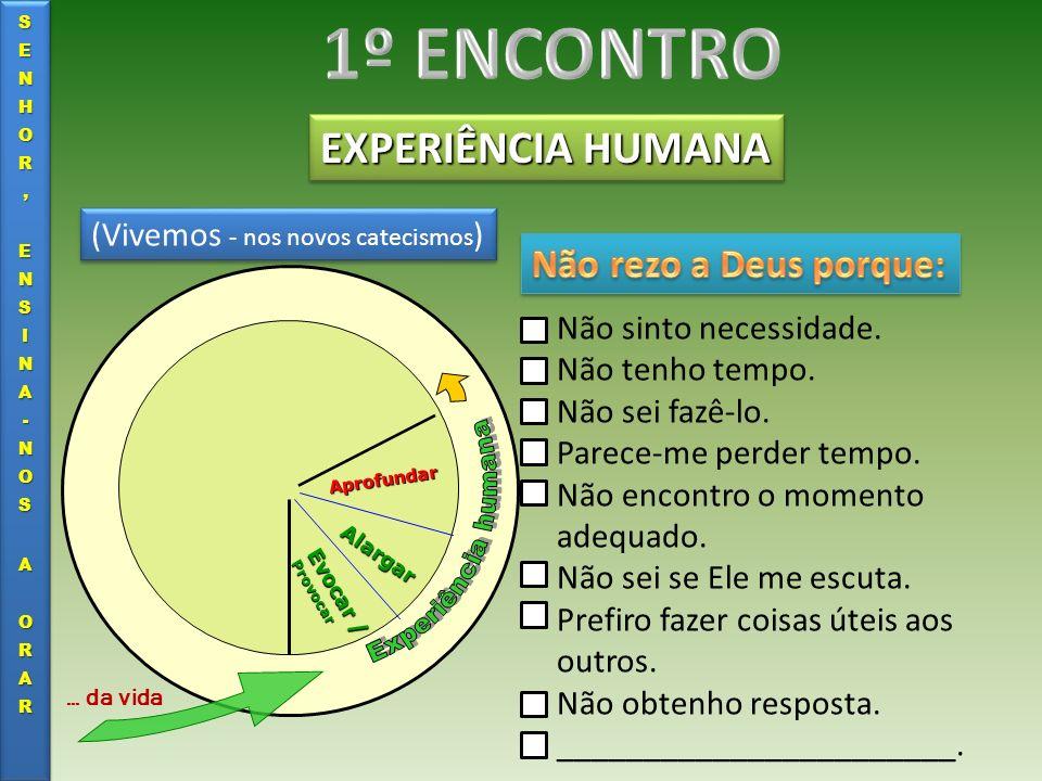EXPERIÊNCIA HUMANA Evocar / Provocar Alargar Aprofundar … da vida (Vivemos - nos novos catecismos ) Porque queremos viver e viver uma vida feliz.