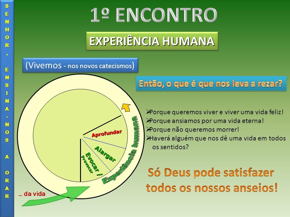 EXPERIÊNCIA HUMANA Evocar / Provocar Alargar Aprofundar … da vida (Vivemos - nos novos catecismos ) Porque queremos viver e viver uma vida feliz! Porq