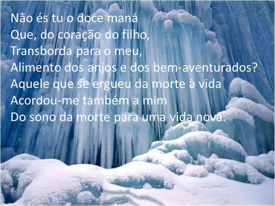 Não és tu o doce maná Que, do coração do filho, Transborda para o meu, Alimento dos anjos e dos bem-aventurados? Aquele que se ergueu da morte à vida