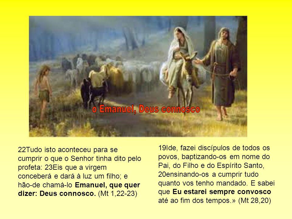 22Tudo isto aconteceu para se cumprir o que o Senhor tinha dito pelo profeta: 23Eis que a virgem conceberá e dará à luz um filho; e hão-de chamá-lo Em