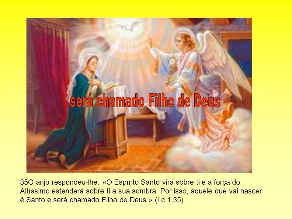 35O anjo respondeu-lhe: «O Espírito Santo virá sobre ti e a força do Altíssimo estenderá sobre ti a sua sombra. Por isso, aquele que vai nascer é Sant