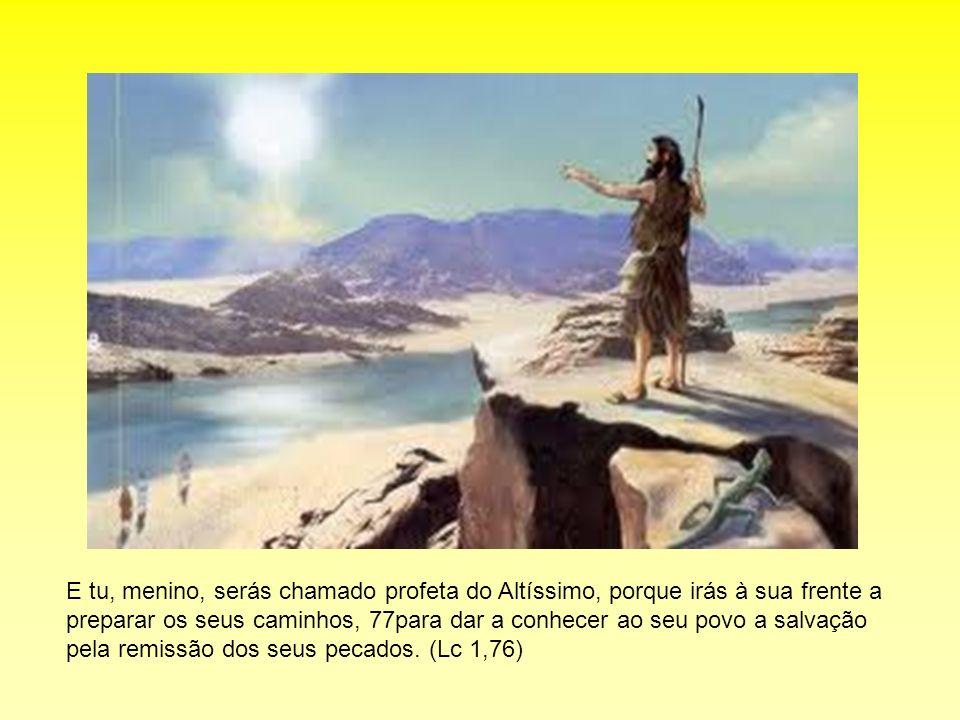 E tu, menino, serás chamado profeta do Altíssimo, porque irás à sua frente a preparar os seus caminhos, 77para dar a conhecer ao seu povo a salvação p
