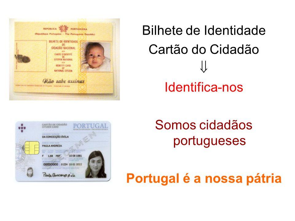 Bilhete de Identidade Cartão do Cidadão Identifica-nos Somos cidadãos portugueses Portugal é a nossa pátria
