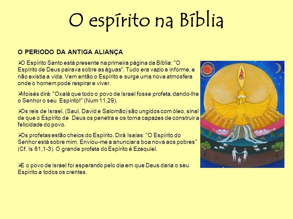 O espírito na Bíblia O PERIODO DA ANTIGA ALIANÇA O Espírito Santo está presente na primeira página da Bíblia: