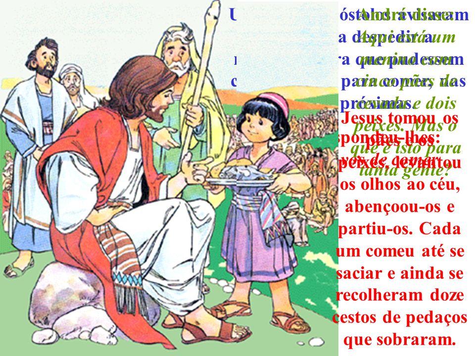 A fama de Jesus tinha-se espalhado muito. E todos queriam vê- Lo, ouvi-Lo e pedir-Lhe ajuda. Um dia pregava desde a margem do lago, sentado na barca d