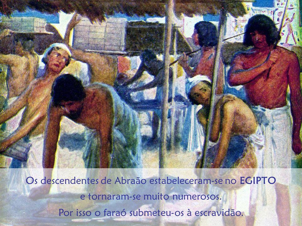 Os descendentes de Abraão estabeleceram-se no EGIPTO e tornaram-se muito numerosos. Por isso o faraó submeteu-os à escravidão.