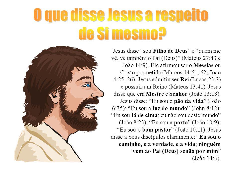 Jesus disse sou Filho de Deus e quem me vê, vê também o Pai (Deus) (Mateus 27:43 e João 14:9). Ele afirmou ser o Messias ou Cristo prometido (Marcos 1