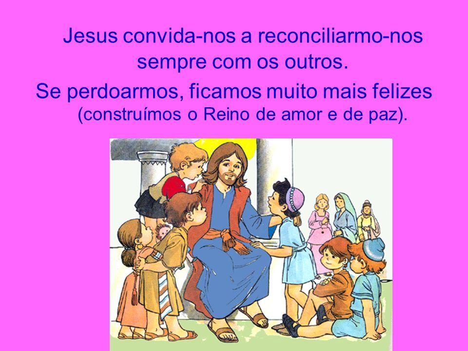 Jesus convida-nos a reconciliarmo-nos sempre com os outros. Se perdoarmos, ficamos muito mais felizes (construímos o Reino de amor e de paz).