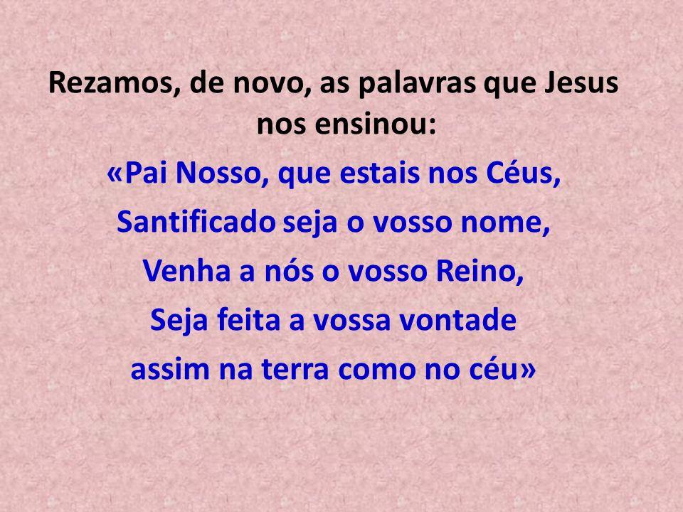 Rezamos, de novo, as palavras que Jesus nos ensinou: «Pai Nosso, que estais nos Céus, Santificado seja o vosso nome, Venha a nós o vosso Reino, Seja f