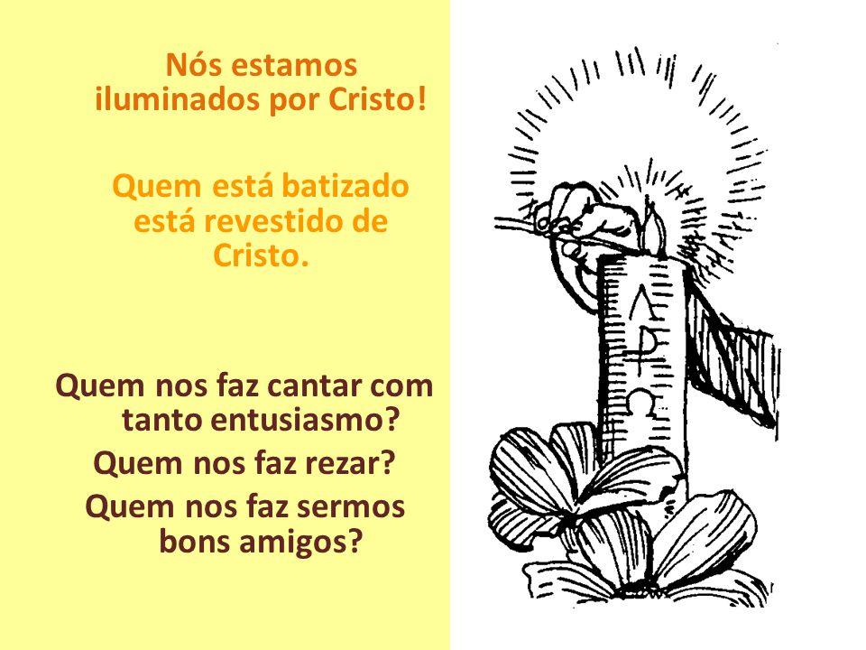 Nós estamos iluminados por Cristo! Quem está batizado está revestido de Cristo. Quem nos faz cantar com tanto entusiasmo? Quem nos faz rezar? Quem nos