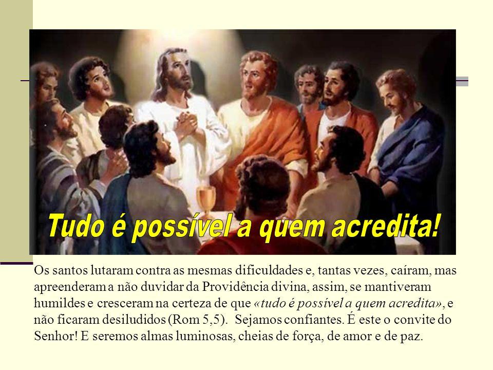 Os santos lutaram contra as mesmas dificuldades e, tantas vezes, caíram, mas apreenderam a não duvidar da Providência divina, assim, se mantiveram hum