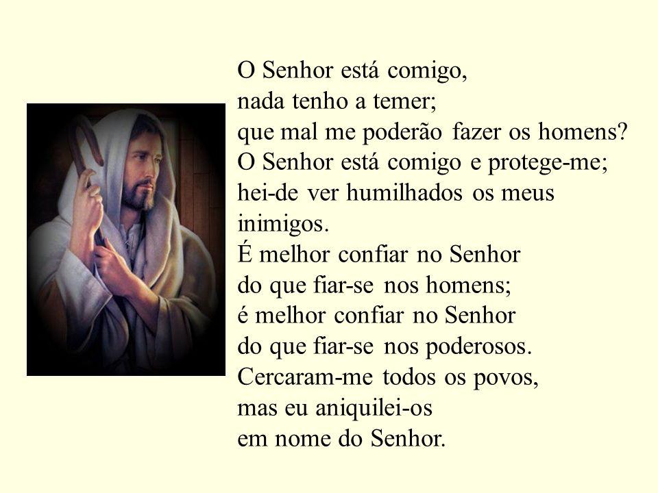 O Senhor está comigo, nada tenho a temer; que mal me poderão fazer os homens? O Senhor está comigo e protege-me; hei-de ver humilhados os meus inimigo