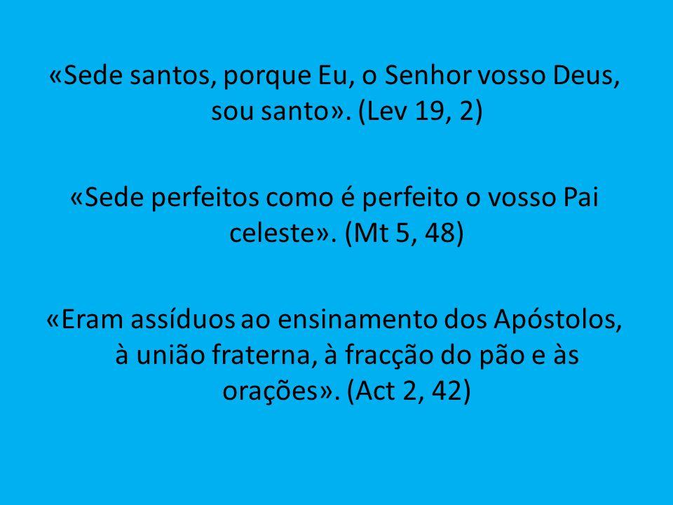 «Sede santos, porque Eu, o Senhor vosso Deus, sou santo». (Lev 19, 2) «Sede perfeitos como é perfeito o vosso Pai celeste». (Mt 5, 48) «Eram assíduos