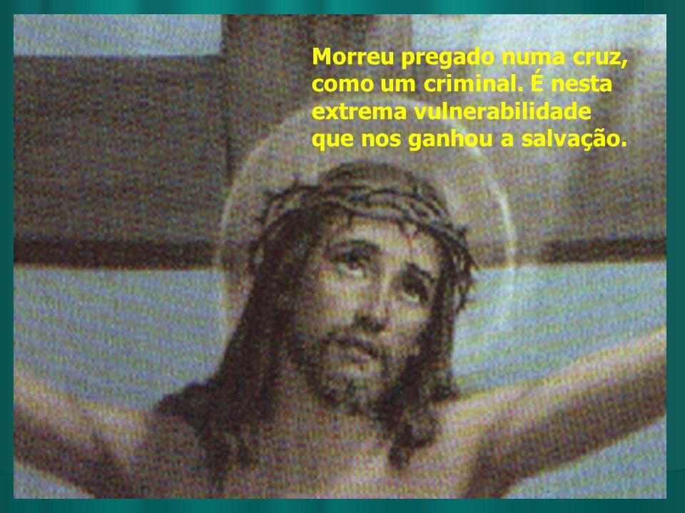 Morreu pregado numa cruz, como um criminal. É nesta extrema vulnerabilidade que nos ganhou a salvação.