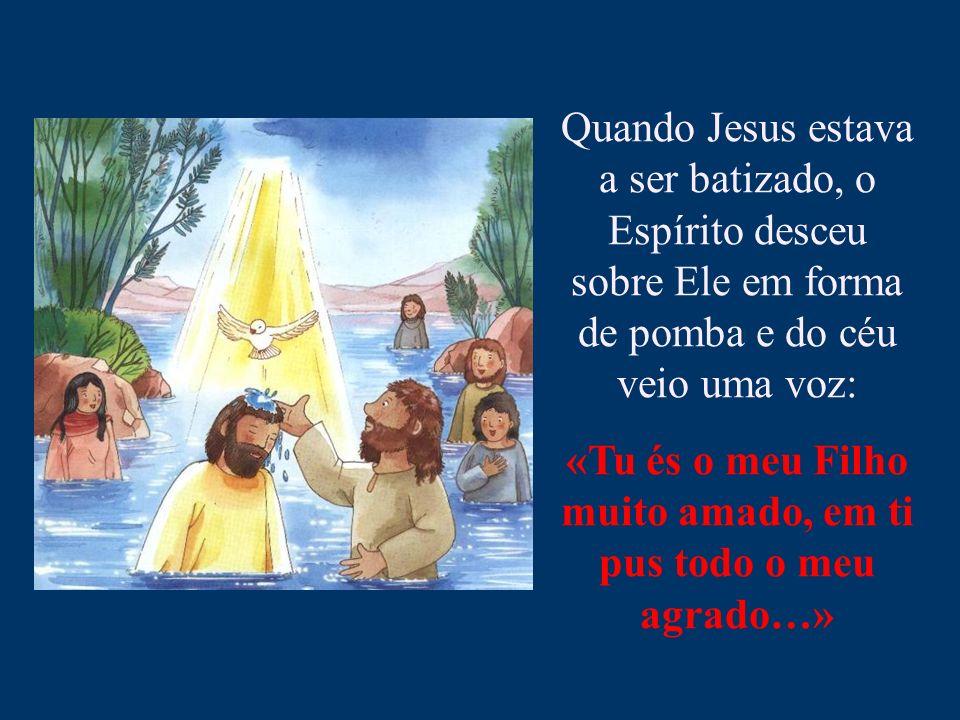 Quando Jesus estava a ser batizado, o Espírito desceu sobre Ele em forma de pomba e do céu veio uma voz: «Tu és o meu Filho muito amado, em ti pus tod