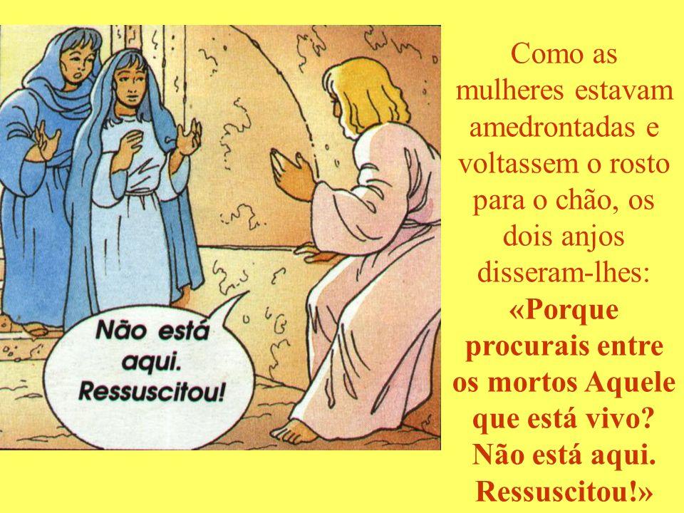 Como as mulheres estavam amedrontadas e voltassem o rosto para o chão, os dois anjos disseram-lhes: «Porque procurais entre os mortos Aquele que está vivo.