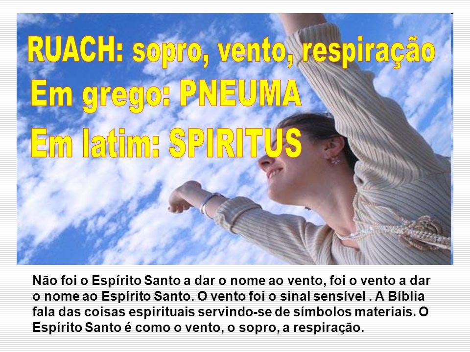 Não foi o Espírito Santo a dar o nome ao vento, foi o vento a dar o nome ao Espírito Santo. O vento foi o sinal sensível. A Bíblia fala das coisas esp