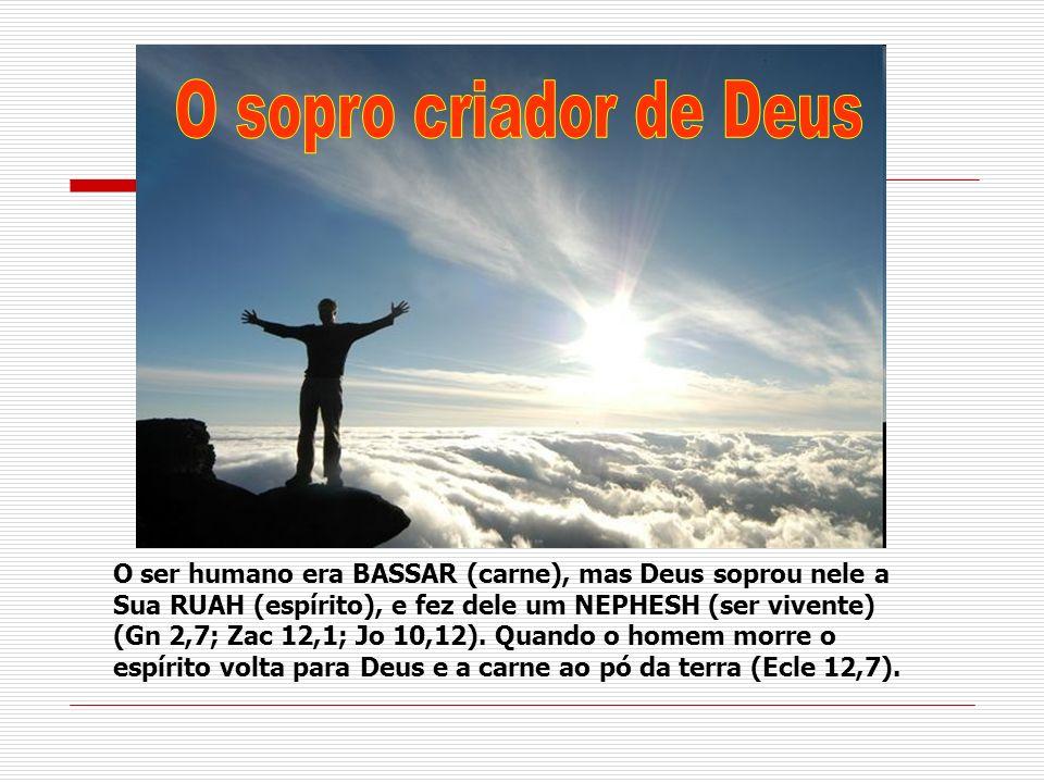 O ser humano era BASSAR (carne), mas Deus soprou nele a Sua RUAH (espírito), e fez dele um NEPHESH (ser vivente) (Gn 2,7; Zac 12,1; Jo 10,12). Quando