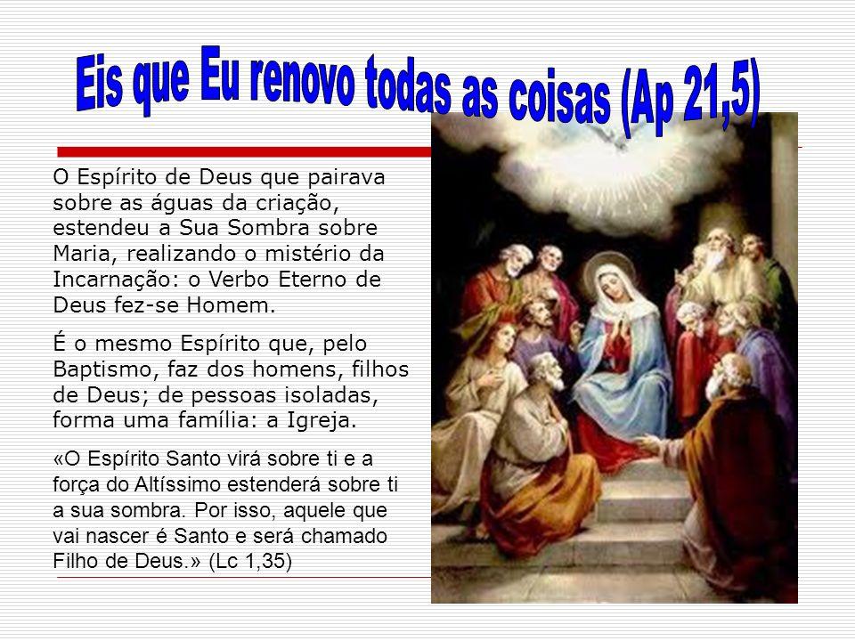 O Espírito de Deus que pairava sobre as águas da criação, estendeu a Sua Sombra sobre Maria, realizando o mistério da Incarnação: o Verbo Eterno de De
