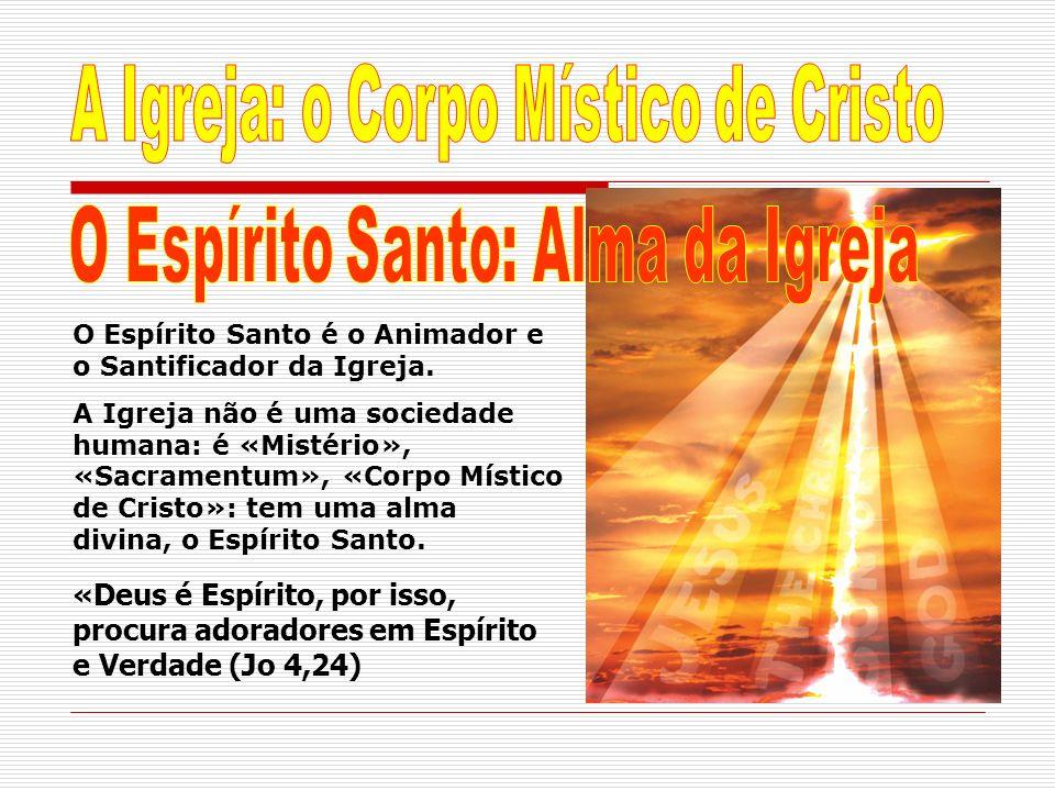 O Espírito Santo é o Animador e o Santificador da Igreja. A Igreja não é uma sociedade humana: é «Mistério», «Sacramentum», «Corpo Místico de Cristo»: