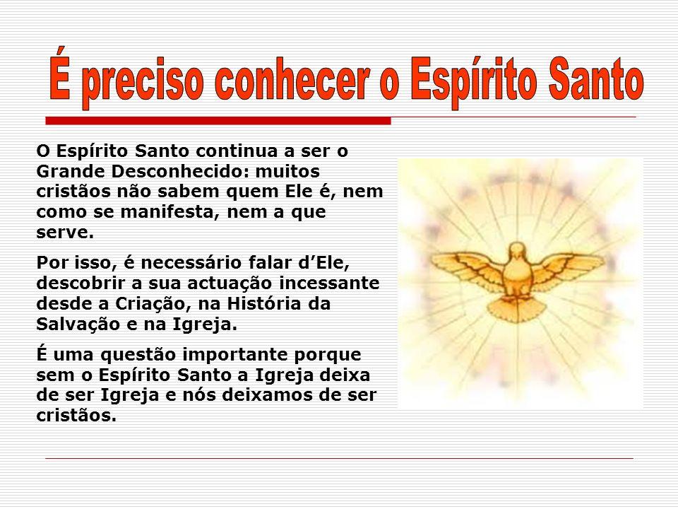 O Espírito Santo personifica o Mistério de Deus que é, ao mesmo tempo, poder absoluto e ternura infinita.