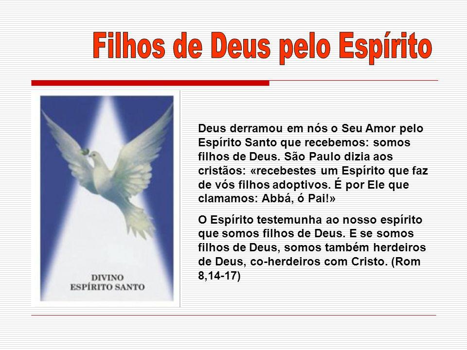 Deus derramou em nós o Seu Amor pelo Espírito Santo que recebemos: somos filhos de Deus. São Paulo dizia aos cristãos: «recebestes um Espírito que faz