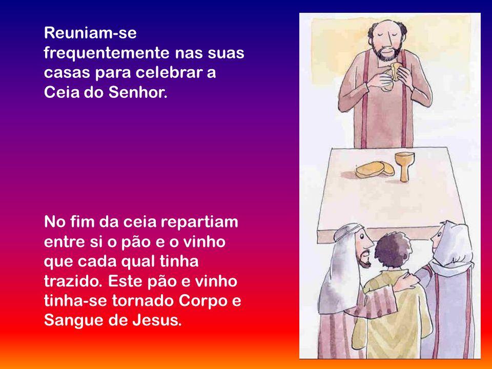 Na comunhão recebemos o corpo e o sangue de Jesus.
