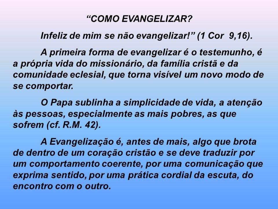 COMO EVANGELIZAR? Infeliz de mim se não evangelizar! (1 Cor 9,16). A primeira forma de evangelizar é o testemunho, é a própria vida do missionário, da