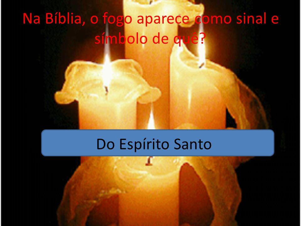 Na Bíblia, o fogo aparece como sinal e símbolo de quê? Do Espírito Santo