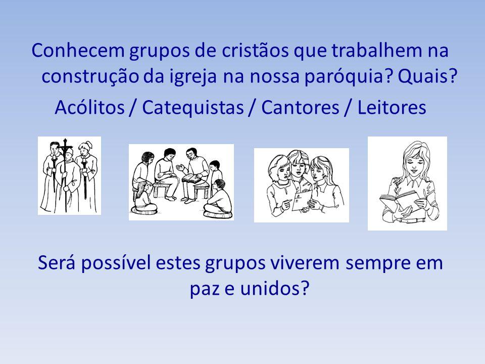 Conhecem grupos de cristãos que trabalhem na construção da igreja na nossa paróquia? Quais? Acólitos / Catequistas / Cantores / Leitores Será possível