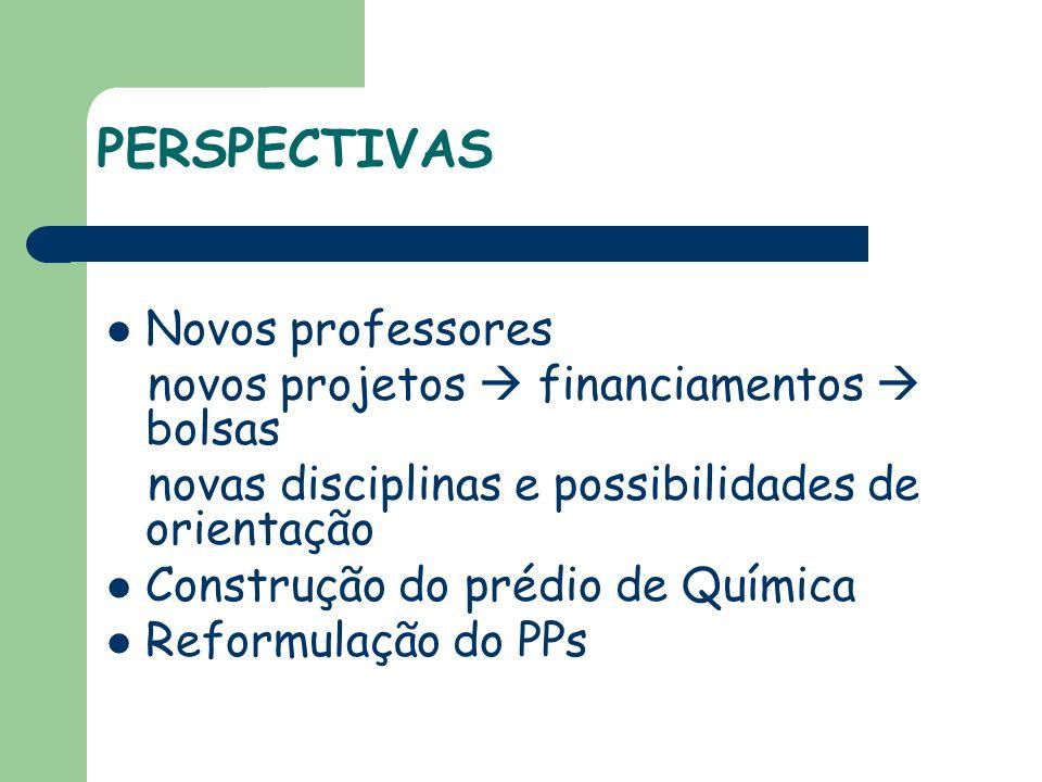 Novos professores novos projetos financiamentos bolsas novas disciplinas e possibilidades de orientação Construção do prédio de Química Reformulação do PPs PERSPECTIVAS