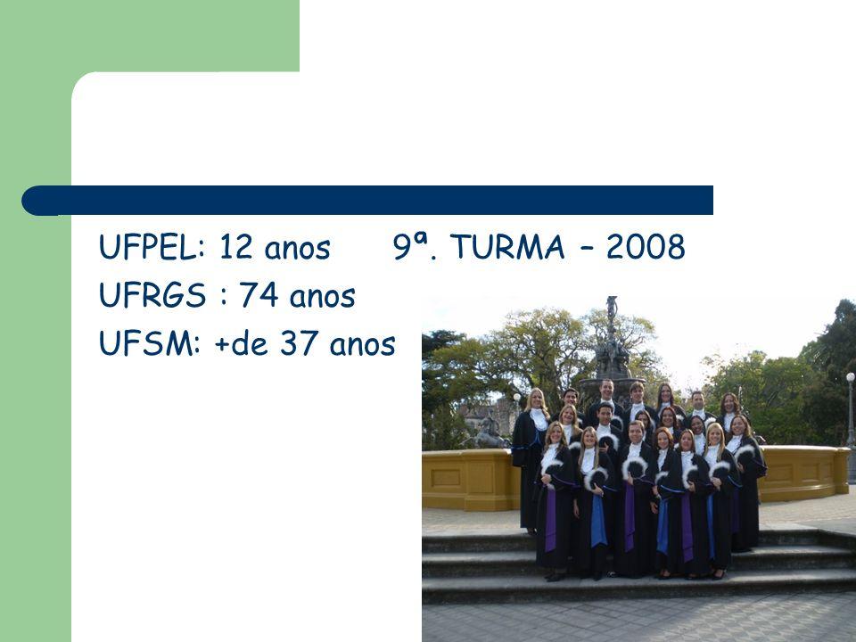 UFPEL: 12 anos 9ª. TURMA – 2008 UFRGS : 74 anos UFSM: +de 37 anos