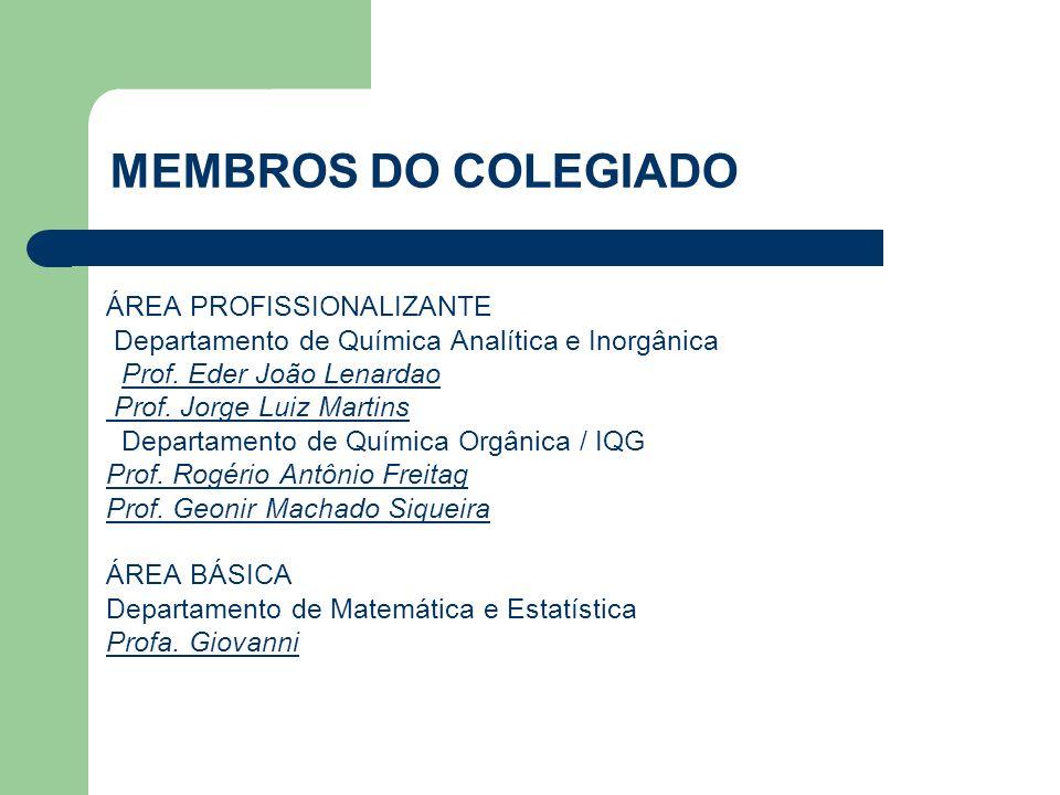MEMBROS DO COLEGIADO ÁREA PROFISSIONALIZANTE Departamento de Química Analítica e Inorgânica Prof.