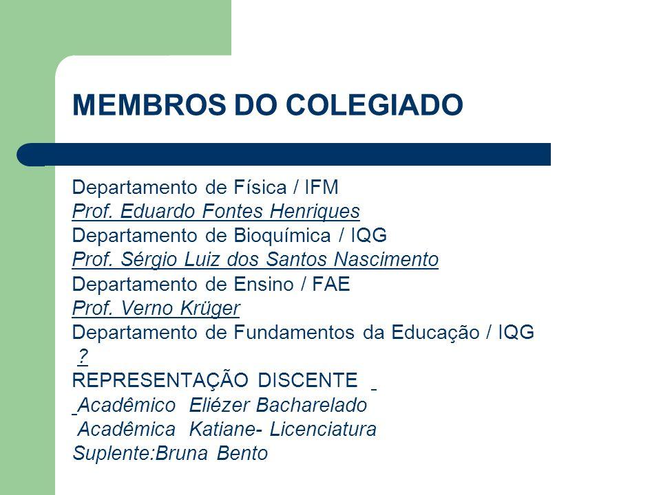 MEMBROS DO COLEGIADO Departamento de Física / IFM Prof.
