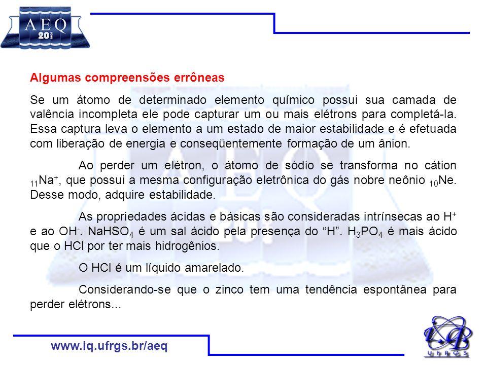 www.iq.ufrgs.br/aeq Concepções implícitas/ espontâneas/alternativas dos estudantes