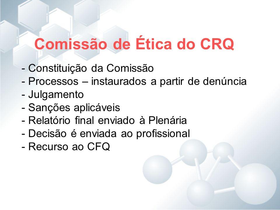 Comissão de Ética do CRQ - Constituição da Comissão - Processos – instaurados a partir de denúncia - Julgamento - Sanções aplicáveis - Relatório final