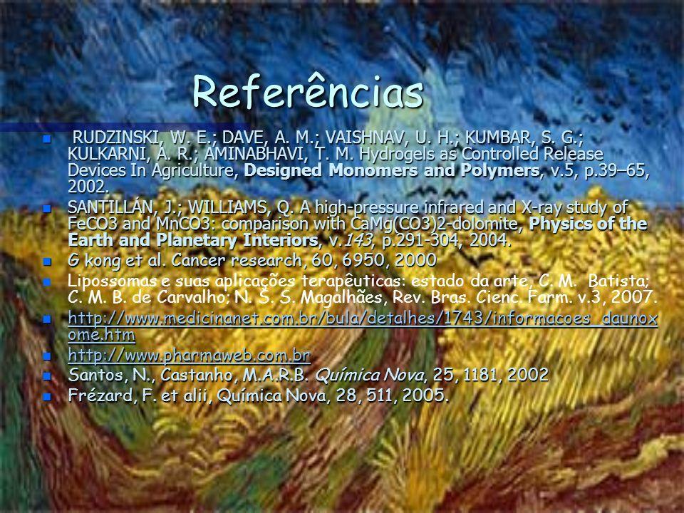 Referências n RUDZINSKI, W. E.; DAVE, A. M.; VAISHNAV, U. H.; KUMBAR, S. G.; KULKARNI, A. R.; AMINABHAVI, T. M. Hydrogels as Controlled Release Device