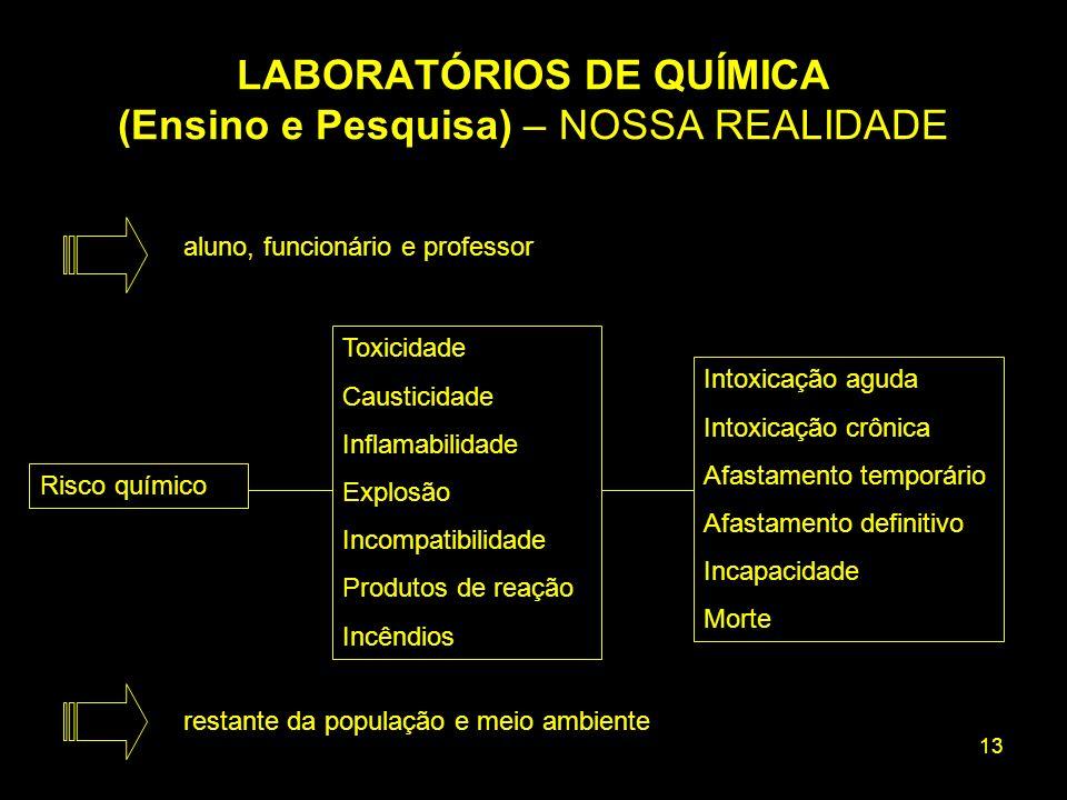 13 Intoxicação aguda Intoxicação crônica Afastamento temporário Afastamento definitivo Incapacidade Morte Risco químico Toxicidade Causticidade Inflam