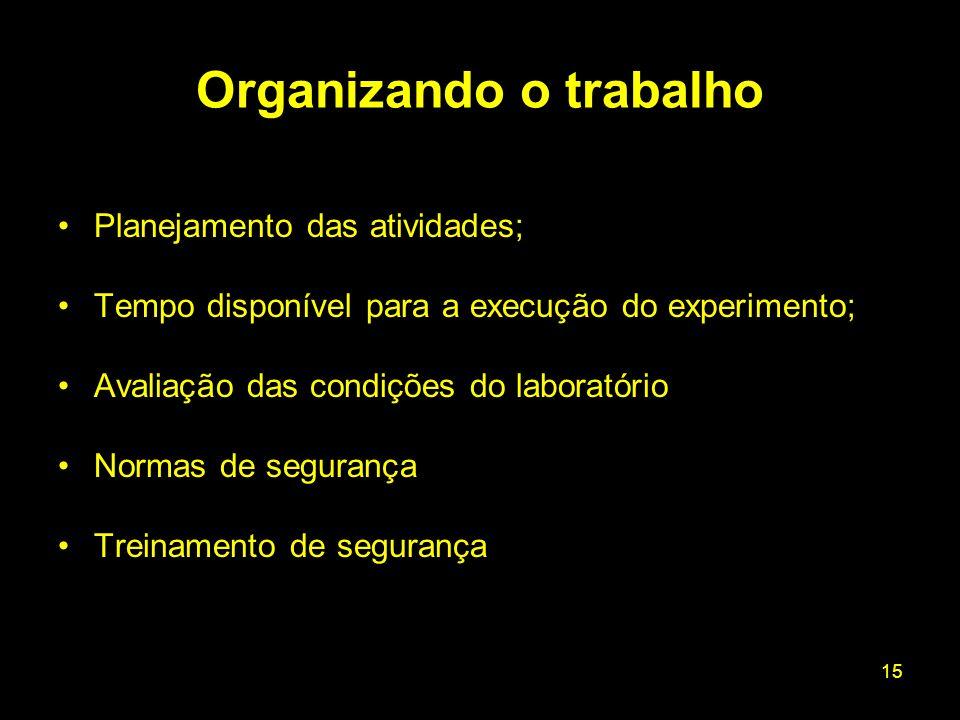 15 Planejamento das atividades; Tempo disponível para a execução do experimento; Avaliação das condições do laboratório Normas de segurança Treinament