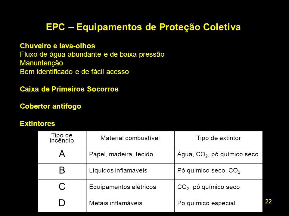 22 EPC – Equipamentos de Proteção Coletiva Chuveiro e lava-olhos Fluxo de água abundante e de baixa pressão Manuntenção Bem identificado e de fácil ac