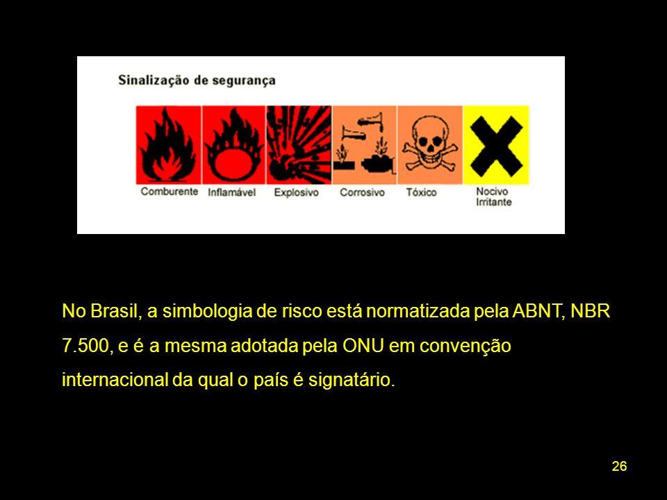 26 No Brasil, a simbologia de risco está normatizada pela ABNT, NBR 7.500, e é a mesma adotada pela ONU em convenção internacional da qual o país é si