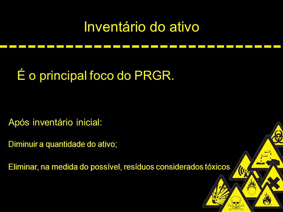 38 Inventário do ativo É o principal foco do PRGR. Após inventário inicial: Diminuir a quantidade do ativo; Eliminar, na medida do possível, resíduos